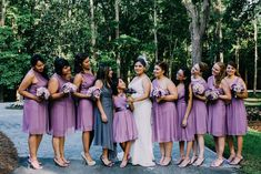 Esmeralda and her maids. The Allens Photography. See this 40 guest wedding here...@intimateweddings.co #bridesmaids #lavender