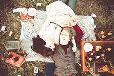 Go on a picnic in the woods or to a park. Play some card games or board games, sip some fine wine or champagne and play some chess. <3
