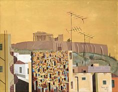 Athens (detail) by Spyros Vassiliou ( Classical Period, Classical Art, Greece Painting, Athens Hotel, Athens Acropolis, Hellenistic Period, Greek Art, 10 Picture, Conceptual Art