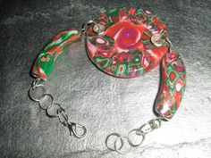 Polymer Clay bracelet with sterlng silver Ear wire £18.00