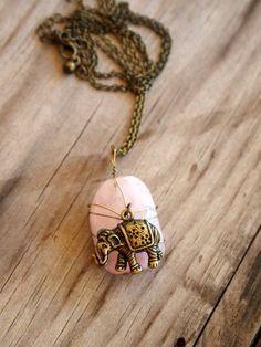 So cute. Rose quartz elephant bohemian necklace