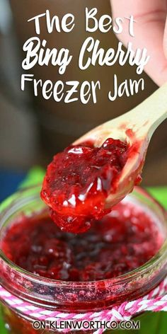 Bing Cherry Freezer Jam is a quick and easy jam recipe for summer cherries. Perfect for breakfast or dessert and makes a lovely gift for neighbors. Freezer Jam Recipes, Canning Recipes, Kitchen Recipes, New Recipes, Favorite Recipes, Family Recipes, Amazing Recipes, Summer Recipes, Healthy Recipes