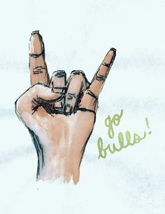 Horns up drawing by #USF student Lara Foerst.