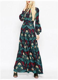 #Lantern Sleeve Print #Women's Maxi Dress(Plus Size Available)