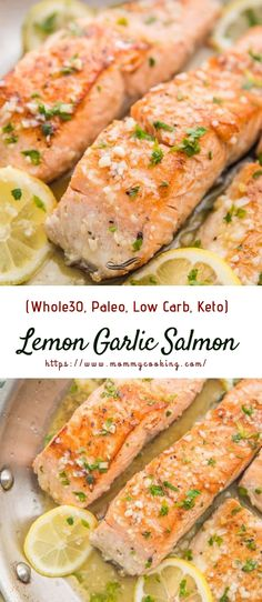 This lemon garlic salmon is out-of-this-world delicious. With only a few ingredients, it's easy and quick to make this healthy pan seared salmon. paleo, low carb, and keto, the lemon garlic butter sauce sauce and this salmon recipe is good enough Easy Paleo Dinner Recipes, Cooking Recipes, Dinner Healthy, Cooking Games, Keto Dinner, Breakfast Recipes, Cooking Classes, Healthy Recipes Dinner Weightloss, Lemon Recipes Dinner