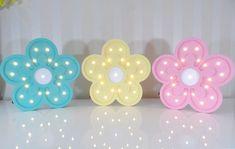 Luminoso flor de MDF no Elo7 | Decordeli (B55499) Best Night Light, Thing 1, Lights, Child Room, Colors, Flower, Fiestas, Lighting, Rope Lighting