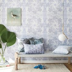 Eskayel Tropic Collection of wallpaper and fabric, styled by SPACEDOUT Forest Wallpaper, Wall Wallpaper, Wallpaper Ideas, Bleu Pale, Kochi, Girls Bedroom, Beach Bedrooms, Master Bedroom, Renting A House