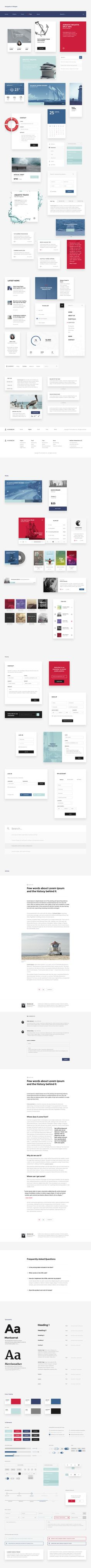 Clean, minimalist, nautical inspired UI kit, spread across 4 content categories. Containing 100+ elements and a style guide that will help you build your project in a snap! Compatible with Photoshop & Sketch!