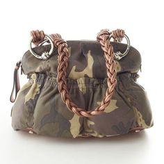 B Makowsky Caroline Genuine Leather Olive Army Green Camoflauge Satchel $268