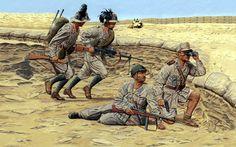 Regio Esercito -1942, El Alamein,  Bersaglieri dell'8° Rgmt Della 132a Divisione Corazzata Ariete, un parà della Divisione paracadutisti Folgore e un Ufficiale di fanteria.