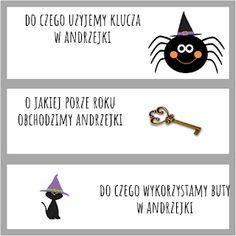 Andrzejki w przedszkolu - pomysły i pomoce dydaktyczne Halloween, Education, School, Party, Diy, Movie Posters, Bricolage, Film Poster, Parties