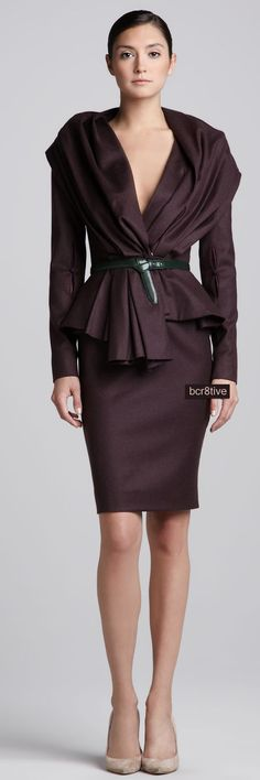 Oscar de la Renta Skyline Jacket, High-Waist Pencil Skirt & Pre-Knotted Leather Belt  -  Neiman's