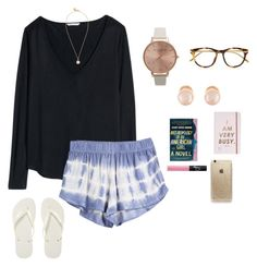 """""""ugh I'm so tired and all I want is cool weather"""" by oliviazoe524 on Polyvore featuring H&M, Olivia Burton, Havaianas, Marc by Marc Jacobs, Kenneth Jay Lane, Linda Farrow Luxe, ban.do, Rifle Paper Co and NARS Cosmetics"""