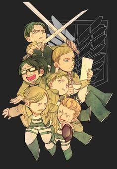 Tags: Anime, Pixiv Id 2640024, Shingeki no Kyojin, Nanaba (Shingeki no Kyojin), Levi, Erwin Smith, Mike Zacarius