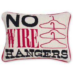 Jonathan Adler No Wire Hangers Needlepoint Pillow