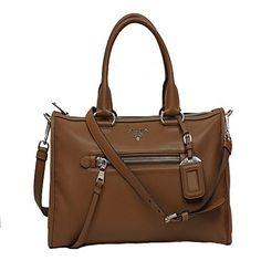 Prada Vitello Phenix Tan Brown Leather Top Handle Shoulder Handbag BL0805