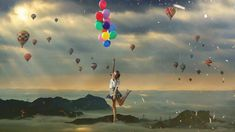 Flying girl with balloons Photomanipulation Its A Girl Balloons, Graphic Design Services, Flies Away, Photo Manipulation, Ps