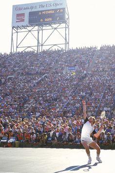 John McEnroe serves during the 1981 U.S. Open men's final against Bjorn Borg. McEnroe won 4–6 6–2 6–4 6–3 for his third straight title at Flushing Meadows.