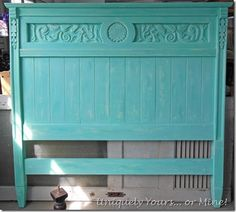 blue painted dresser – Uniquely Yours… or Mine! Redo Furniture, Western Furniture, Furniture Inspiration, Cece Caldwell Paint, Blue Painted Dresser, Headboard From Old Door, Headboard, Carved Headboard, Painted Dresser