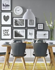 Best Grey Kitchen Walls Ideas On Light Gray Honey Maple Dark-gray dining room decorating ideas grey - Dining Room Decor Grey Kitchen Walls, Dining Room Walls, Dining Room Design, Gray Walls, Kitchen White, Black And White Dining Room, Ikea Dining Room, Grey Dining Rooms, Modern Dining Room Chairs
