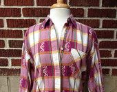 VTG Southwest Embroidered Flannel Button Up // Berry Yellow and Green // Backroad Blues // Sz M // Cotton