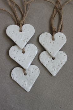 Box of 5 Hearts Ornaments Hanging Decorations Hand Made from  Porcelain. £11.00, via Etsy.