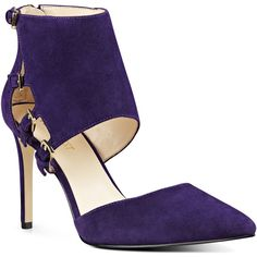 Nine West Trustme Pointy Toe Pumps ($60) ❤ liked on Polyvore featuring shoes, pumps, dark purple suede, pointy toe shoes, suede leather shoes, dark purple shoes, pointed toe shoes and cuff shoes