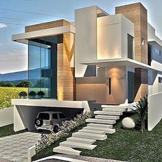 New modern architecture of the house in modern style, which looks so amazing, trending, beautiful and luxury! Modern Exterior House Designs, Best Modern House Design, Modern Villa Design, House Front Design, Dream House Exterior, Modern Architecture House, Modern House Plans, Exterior Design, Architecture Design