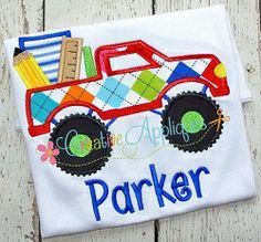 School Monster Truck Applique - 4 Sizes!   What's New   Machine Embroidery Designs   SWAKembroidery.com Creative Appliques