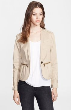 Burberry Brit Zip Detail Stretch Cotton Jacket available at #Nordstrom