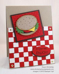 Stampin' Up!  Punch Art  Dawn Olchefske  Hamburger