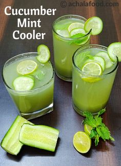 Cucumber mint cooler recipe cucumber juice recipe cucumber d Healthy Juices, Healthy Drinks, Detox Juices, Detox Drinks, Healthy Foods, Healthy Eating, Healthy Recipes, Refreshing Drinks, Summer Drinks
