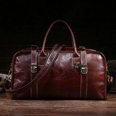 2017 Oil wax leather women men travel bag Vintage handbag head layer cowhide single shoulder business large capacity travel bag
