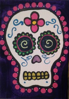 Day of the Dead Art-bottlecaps Sugar Skull Painting, Sugar Skull Art, Sugar Skulls, Halloween Crafts For Kids, Halloween Projects, Halloween Art, October Art, October Crafts, Fall Art Projects