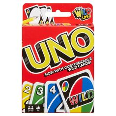 UNO card game with customizable wild cards. Race to get rid of all of your cards Match colors or numbers Use the action cards or house rule cards against your oponents When yiu're Down to one card, don't forget to yell UNO! Ages 7 and up players Uno Card Game, Uno Cards, Classic Card Games, Giant Card, Bored Games, Cardinals Game, Action Cards, Giant Games, Ideas