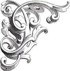 Vintage Corner Scrolls Design via Jacot Jacot - The Graphics Fairy Más Filigranes Design, Ornament Drawing, Graphics Fairy, Free Graphics, Carving Designs, Scroll Design, Art Graphique, Corner Designs, Kirigami