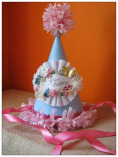 Vintage Inspired Birthday Party Hat by crepeconfectionary on Etsy Birthday Party Hats, It's Your Birthday, Birthday Celebration, Happy Birthday, Christmas Gifts For Girlfriend, Christmas Gifts For Friends, Crown Template, Heart Template, Flower Template