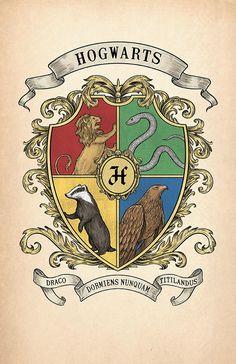 Items similar to Hogwarts Crest Print on Etsy Estilo Harry Potter, Cumpleaños Harry Potter, Harry Potter Poster, Harry Potter Drawings, Harry Potter Halloween, Harry Potter Pictures, Harry Potter Tumblr, Harry Potter Birthday, Harry Potter Illustrations