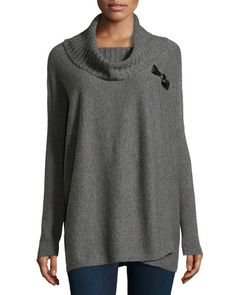 Cashmere Side-Buckle Poncho, Gray by Neiman Marcus at Neiman Marcus Last Call.