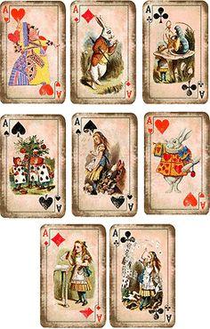 De inspiración vintage, Alice In Wonderland Naipes Etiquetas Scrapbooking Manualidades 8