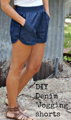 I've been wanting some denim type jogging shorts, so I made some by making changes to an existing pattern I've already sewn twice. Simplicity 1165, a basic shorts pattern with pockets. I knew the fit