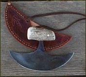 inuit steel ulu with antler handle and leather sheath