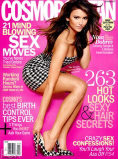 The thing that sticks out most to me on this magazine cover is the position of the model, actress Nina Dobrev. I think that the full length view of her is very creative and eye catching. All the colors work very well together and create a good contrast. One of my favorite things about Cosmo magazine covers is their use of eclectic fonts. I want to use a similar mixture in my magazine design.