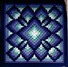 crochet ... Cathy's Four-Way Bargello Patterns Page ... gorgeous blues ... looks like it's glowing ...