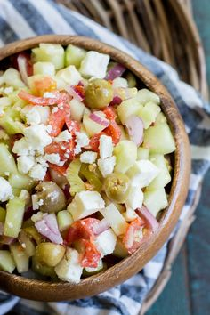 This Greek Cucumber Salad is packed with fresh vegetables and topped with tangy feta cheese! This is a great low carb lunch under 4 net carbs per serving! Greek Recipes, Keto Recipes, Vegetarian Recipes, Keto Foods, Yummy Recipes, Greek Cucumber Salad, Greek Chicken Kabobs, Greek Dishes, Side Dishes