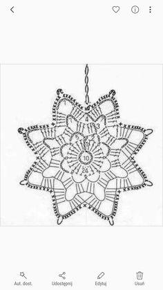Copos para navidad Crochet Snowflake Pattern, Crochet Triangle, Crochet Stars, Crochet Motifs, Crochet Snowflakes, Crochet Diagram, Crochet Doilies, Crochet Flowers, Crochet Stitches