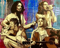 Featuring Chris Cornell of Soundgarden, Eddie Vedder of Pearl Jam, Layne Staley of Alice In Chains, and Kurt Cobain of Nirvana. Chris Cornell, Scott Weiland, Eddie Vedder, Pearl Jam, Chester Bennington, Nirvana, Hard Rock, Rock N Roll, Musik Illustration