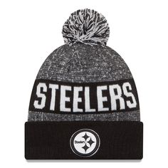 Men s Pittsburgh Steelers New Era Black White Sport Knit Hat cdd15ef512ef