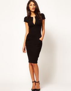 Sexy Fashion Women Pencil Dress Plunge V-Neck Pocket Slim Bodycon Midi Dress OL Work Party Black