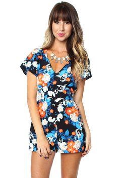 Wild Flower Romper $34.99 #sophieandtrey #rompers #shortsleeves #florals #print #vibrant